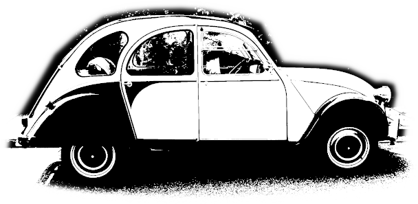 a black and white image of a Citroën 2CV car