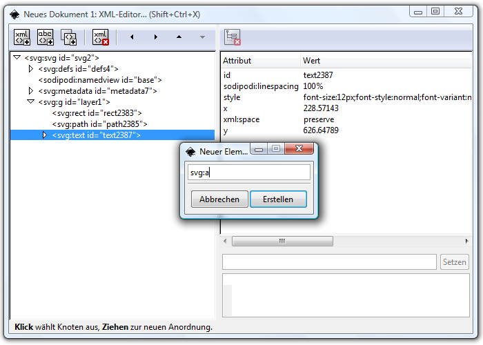 "Screenshot of the XML editor in Inkscape with open ""create new element"" dialog."
